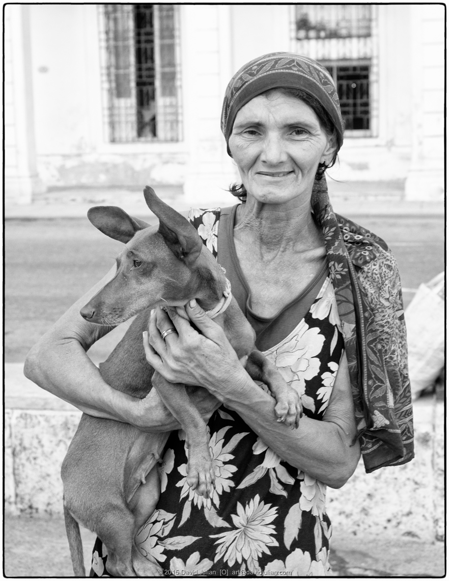 CUBA, Havana, Dona-with-pet